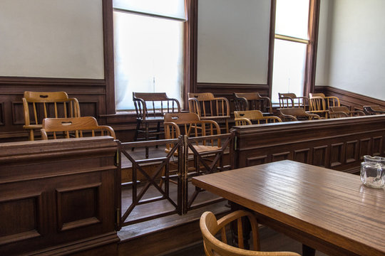 Jury box in small county courthouse.