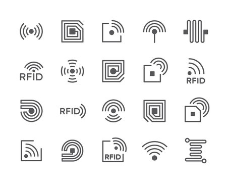 Set of RFID Chip Line Icons. Antenna, Circuit, Tag, Wire, Wireless and more.
