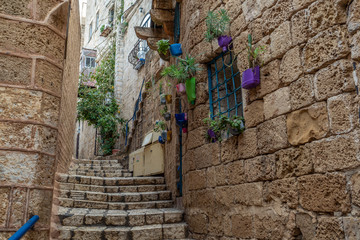 Canvas Prints Narrow alley An old city narrow alley with stone walls and stone pavers as stairs
