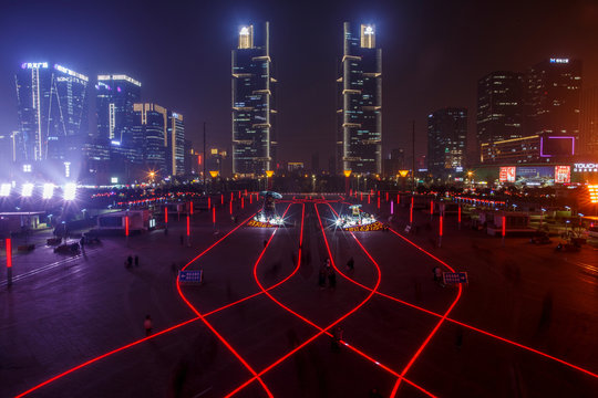 LED lights in the pavement illuminate the square in front of the highspeed railway station in the new business district of Zhengzhou