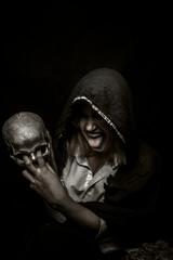 Shaman with skull