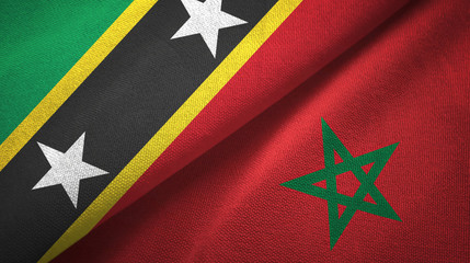 Saint Kitts and Nevis and Morocco two flags textile cloth, fabric texture