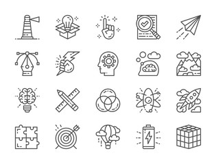 Set of Creative Line Icons. Checklist, Paper Plane, Innovation, Battery and more