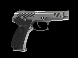 Tactical modern semi - automatic pistol - steel finish - side view