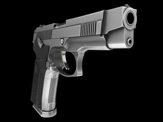 Tactical modern semi - automatic pistol - steel finish - closeup shot of the barrel