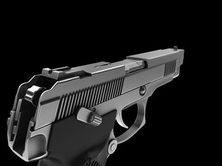 Tactical modern semi - automatic pistol - steel finish - FPS view