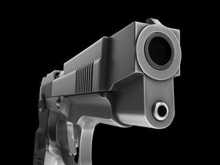 Tactical modern semi - automatic pistol - steel finish - extreme closeup shot