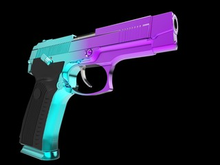 Tactical modern semi - automatic pistol - heat treated two color tone finish - cyan and magenta
