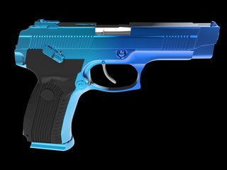 Tactical modern semi - automatic pistol - blue chrome finish