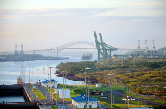 Morning view from the Cocoli Locks on the entrance to the Panama Canal.