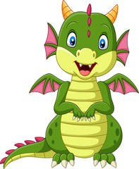 Cartoon baby dragon on white background