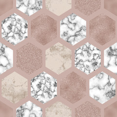 Hexagon seamless pattern with digital marble paper, beige gold foil, pastel grunge texture