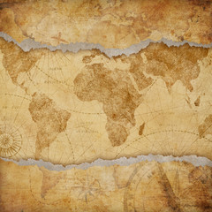 Fototapete - Vintage torn worn world map illustration
