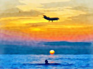 Watercolor. Seascape sea. The dark evening sky at sunset.