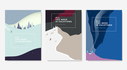 Minimalist landscape poster design, skier skiing downhill on mountain, man climbing snow mountain, small house between mountains at night Fototapete