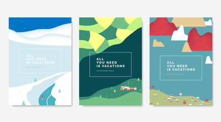 Minimalist landscape poster design, snow mountains, rice fields and village, village and islands Wall mural