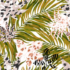 Keuken foto achterwand Grafische Prints Tropical watercolor tropical leaves filled with animal print background