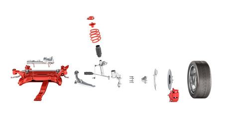 Suspension of the car with wheel Undercarriage in detail isolated on white background 3d without shadow