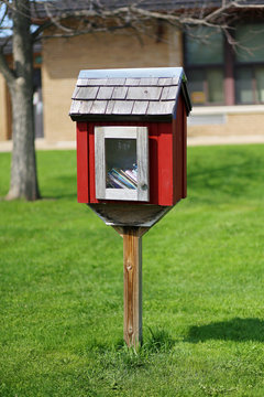 Little Neighborhood Book Sharing Library in Front of Elementary School