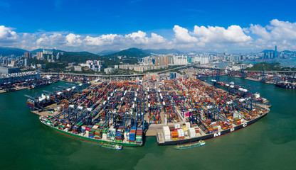 Drone fly over Kwai Chung Cargo Terminal in Hong Kong