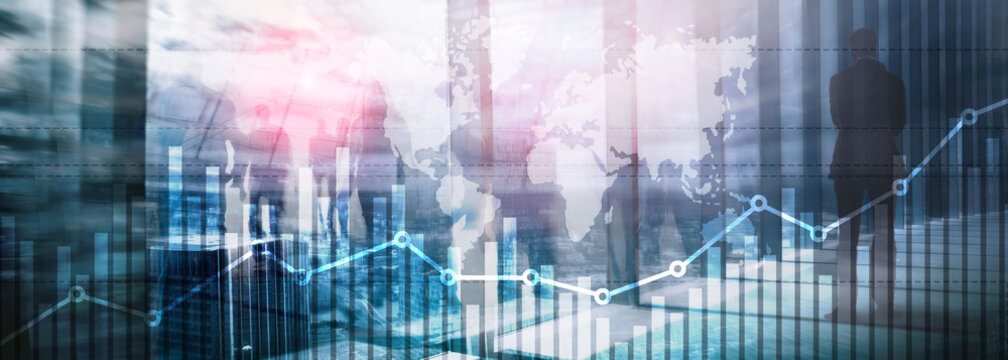 Business finance growth graph chart analysing diagram trading and forex exchange concept double exposure mixed media background website header.