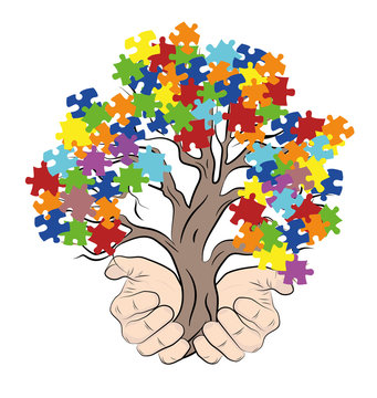 hands holding a tree with puzzles. autism. vector illustration.