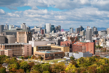 View of Osaka skyline from Osaka Castle on a beautiful day in autumn