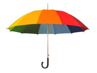 Obraz Rainbow umbrella on white - fototapety do salonu