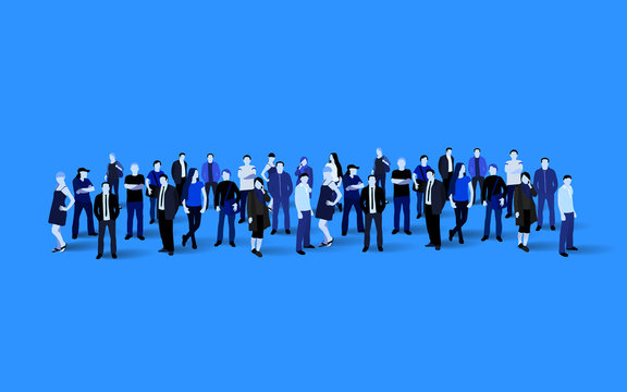 Big people crowd on blue background. Vector