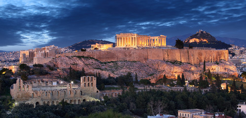 Photo sur Aluminium Athenes Acropolis hill - Parthenon temple in Athens at night, Greece