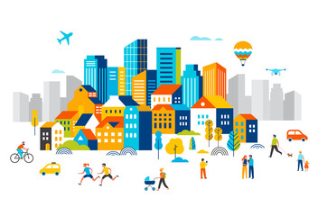 Smart city, landscape city centre with many building, airplane is flying in the sky and people walking, running in park. Wall mural