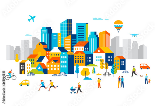 Wall mural Smart city, landscape city centre with many building, airplane is flying in the sky and people walking, running in park.
