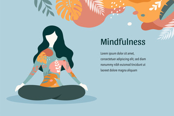Mindfulness, meditation and yoga background in pastel vintage colors - women sitting with crossed legs and meditating. Vector illustration Wall mural