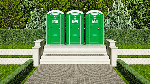 3d illustration of three portable toilets with symbols of free wi-fi in a city park.