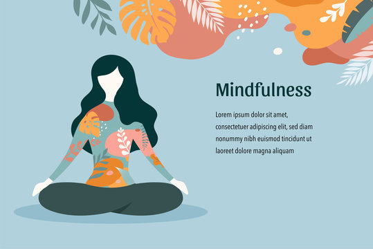 Mindfulness, meditation and yoga background in pastel vintage colors - women sitting with crossed legs and meditating. Vector illustration