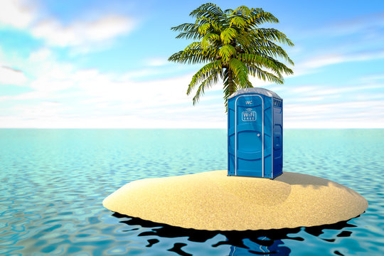 3d illustration of a portable bio toilet with a free wi-fi symbol on an uninhabited island in the ocean.