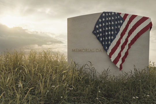 American flag laying on grave at the peaceful flower meadow to remember the memorial day. 3D Rendering