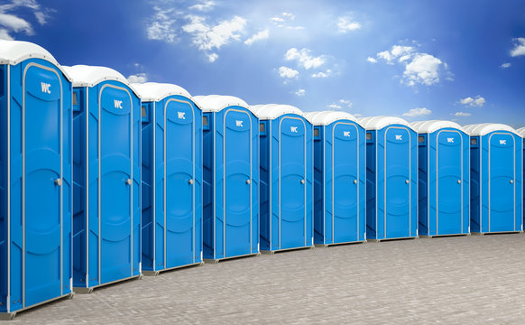 3d illustration of a group of mobile blue bio toilets.