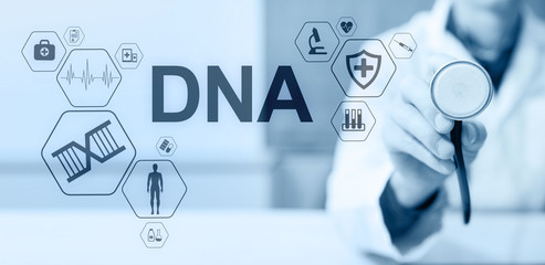 DNA deoxyribonucleic acid. Medical Healthcare Science concept on screen.