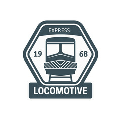 Train locomotive, engraving style vector illustration. Logo design template. - Vector
