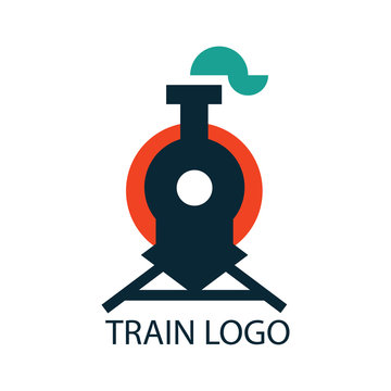 Train Logo Design Template. Logo featuring shape of front view of retro train Vector Illustration. - Vector