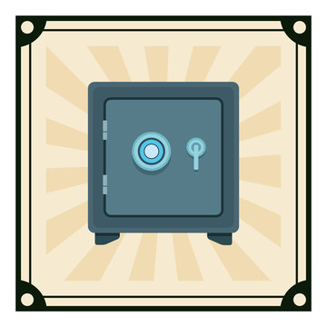 safe box icon on vintage striped frame