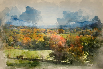 Garden Poster Pistachio Watercolour painting of Beautiful Autumn Fall sunrise foggy landscape image over countryside in Lake District in England