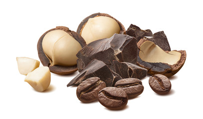 Macadamia nuts, chocolate and coffee beans isolated on white background