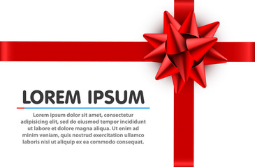 Red bow satin ribbon isolated on white background with clipping path for gift box wrap and holiday card design decoration element.