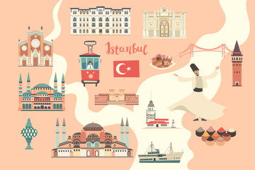 Fototapete - Istanbul City colorful vector map. Famous Istanbul building. Pastel pink colors