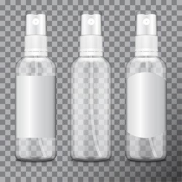 Transparent bottle set with atomizer. Mock up bottle cosmetic or medical vial, flask, flacon 3d illustration