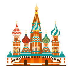 Fototapete - Kremlin palace in Russia. St. Basil s Cathedral on Red square. Isolated on white background