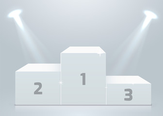 Stage podium with lighting, Stage Podium Scene with for Award Ceremony on white Background
