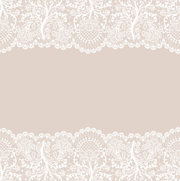 Horizontally seamless beige lace background with white lace borders